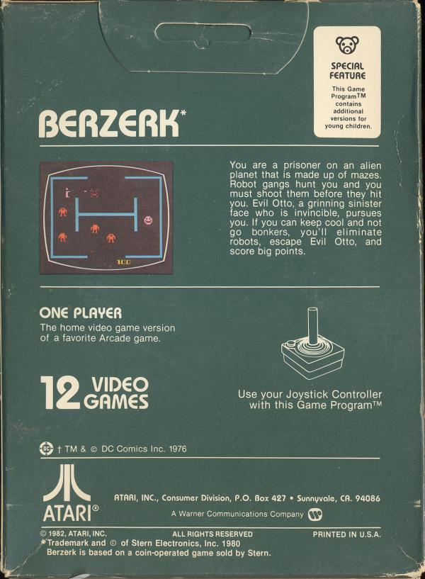 Berzerk - Box Back