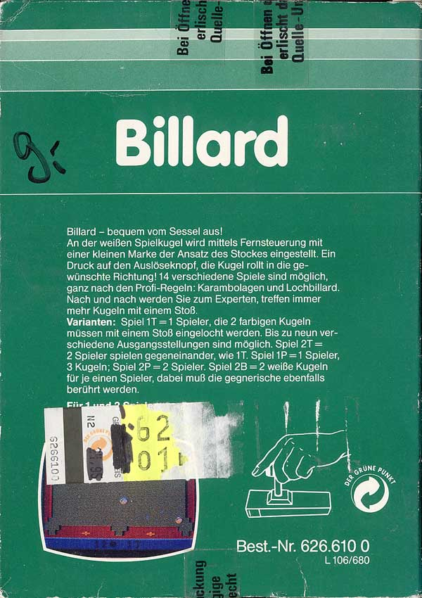 Billard - Box Back