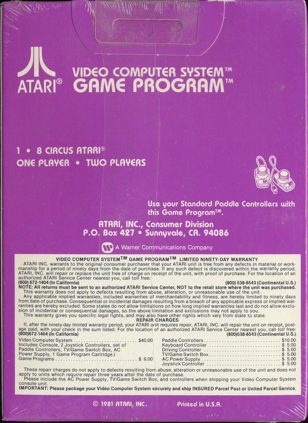 Circus Atari - Box Back