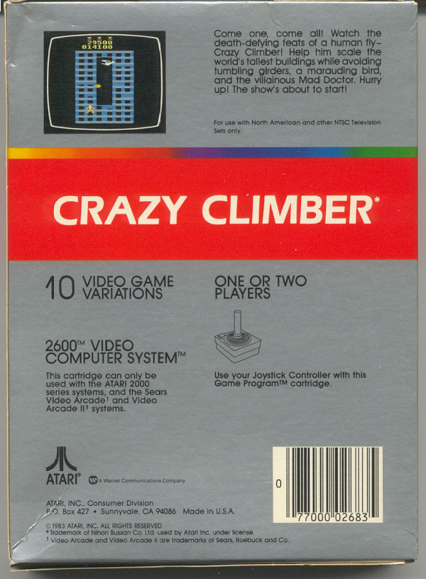 Crazy Climber - Box Back