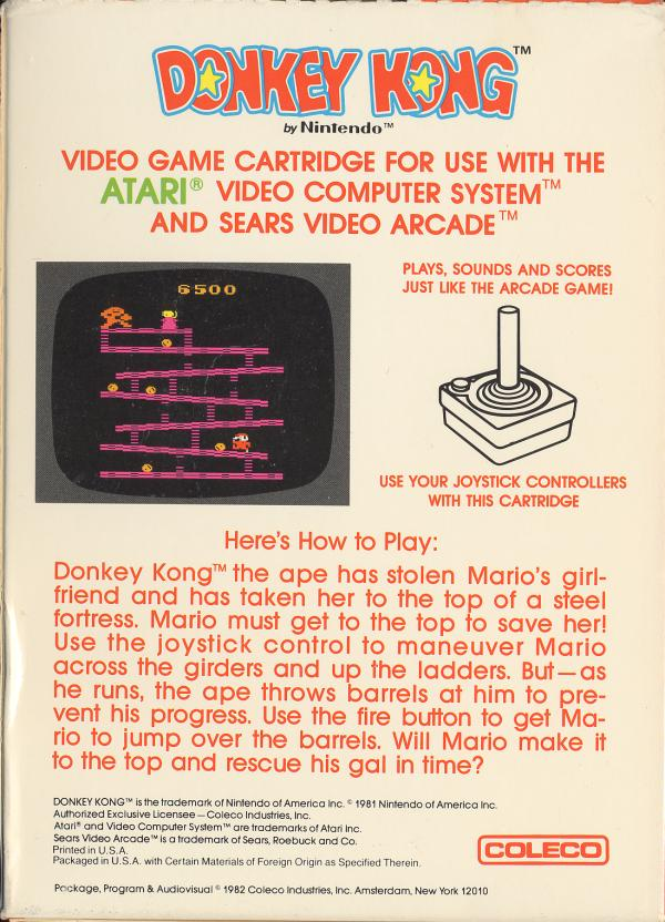 Donkey Kong - Box Back