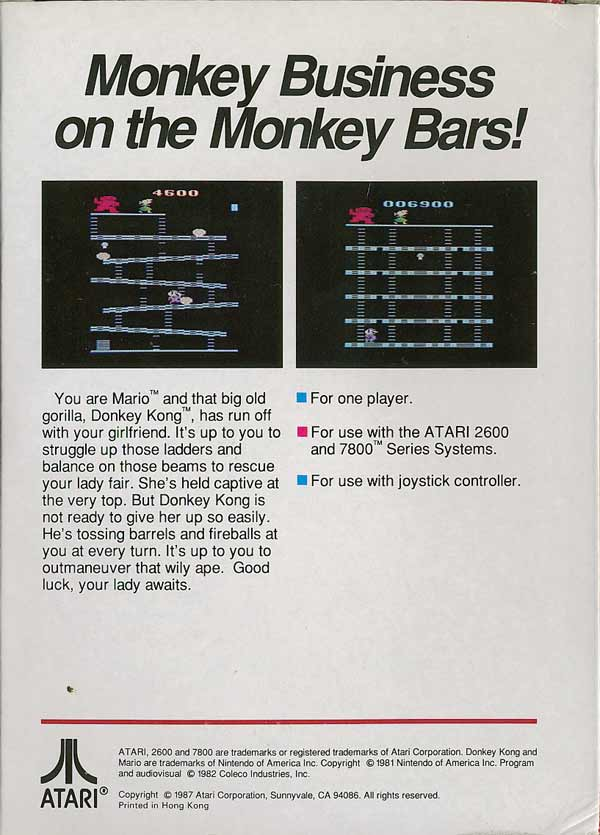 Donkey Kong - Box Back