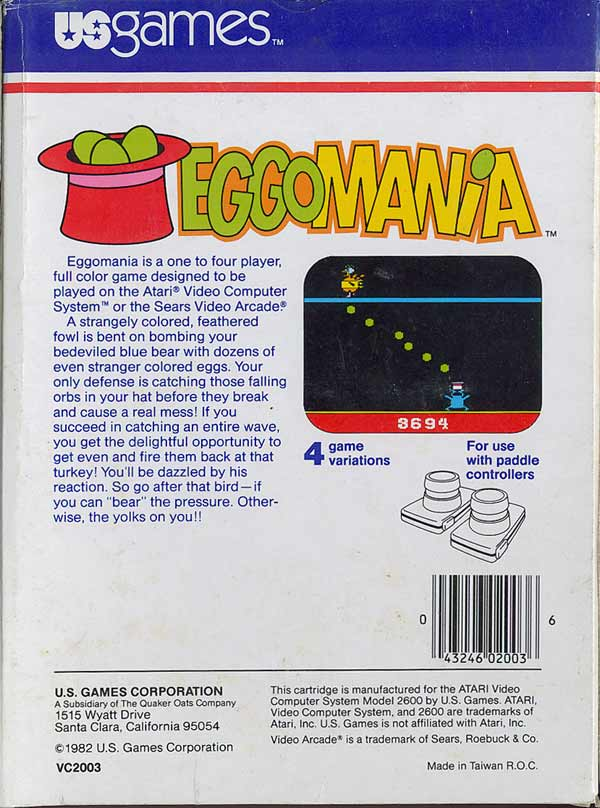 Eggomania - Box Back