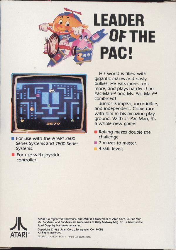 Jr. Pac-Man - Box Back