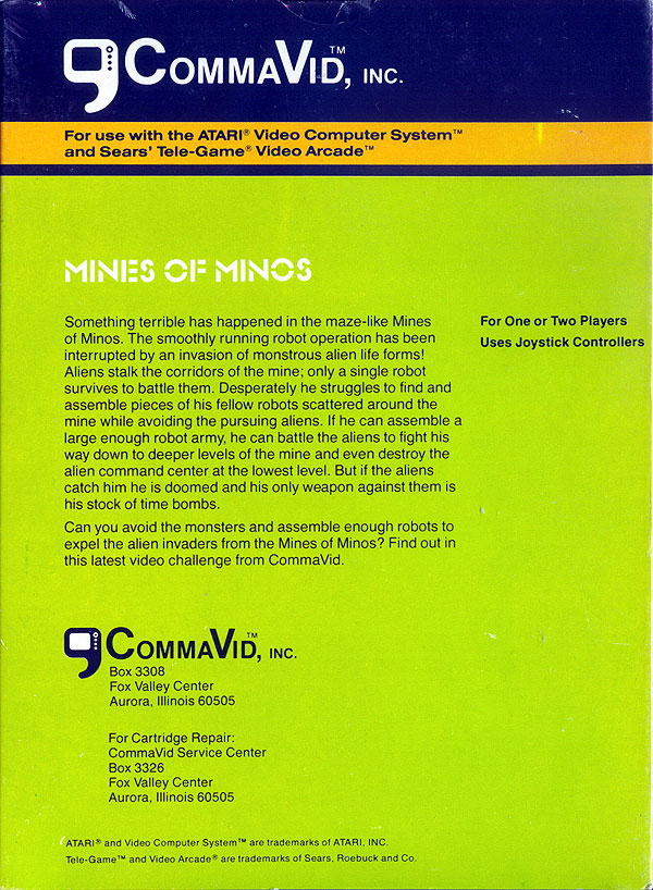 Mines of Minos - Box Back
