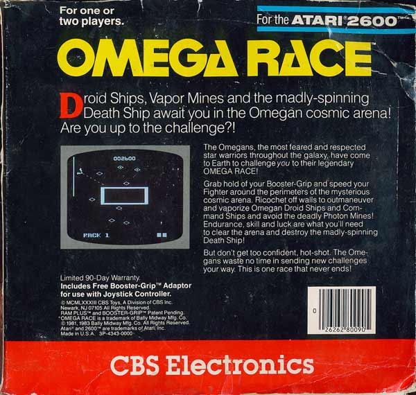 Omega Race - Box Back