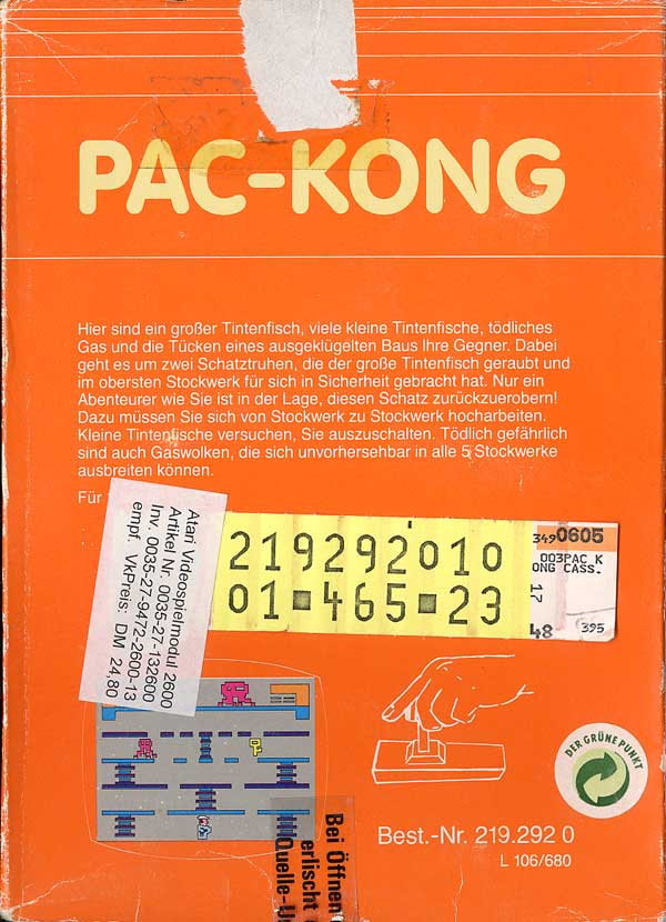 Pac-Kong - Box Back