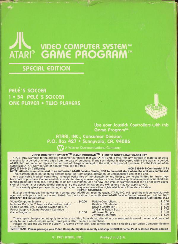 Pele's Soccer - Box Back