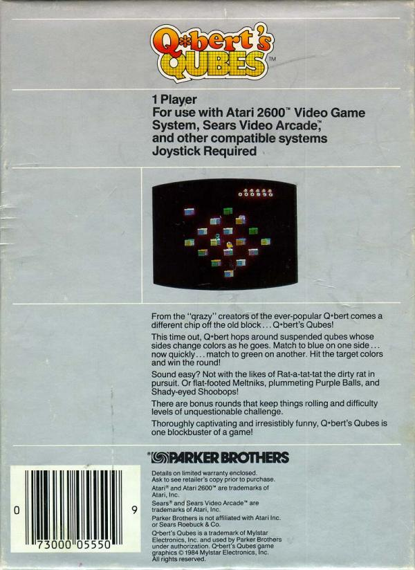 Q*bert's Qubes - Box Back