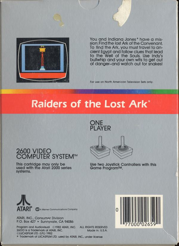 Raiders of the Lost Ark - Box Back