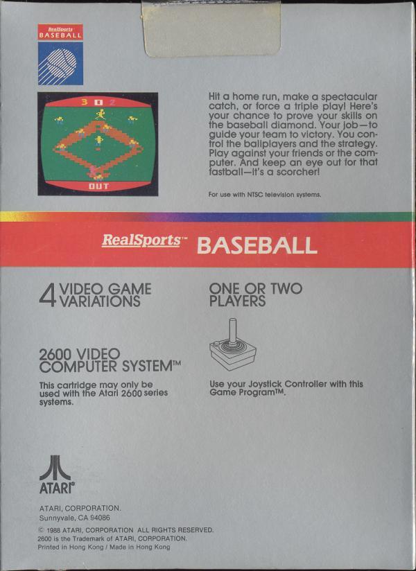 RealSports Baseball - Box Back
