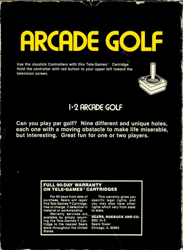 Arcade Golf - Box Back