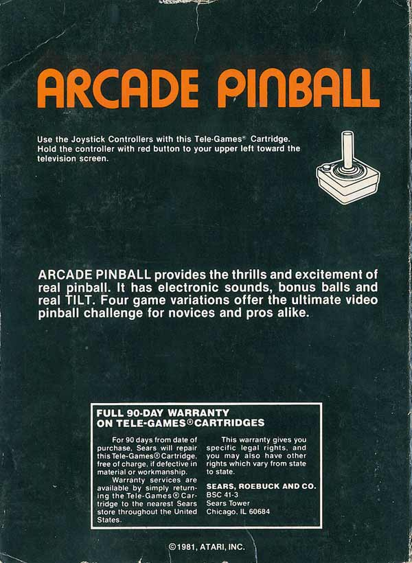 Arcade Pinball - Box Back