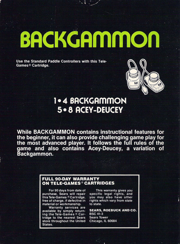 Backgammon - Box Back