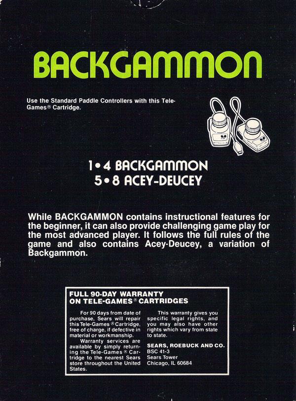 Backgammon - Box Back
