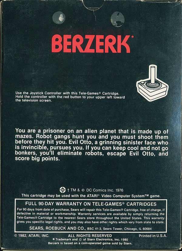 Berzerk - Box Back