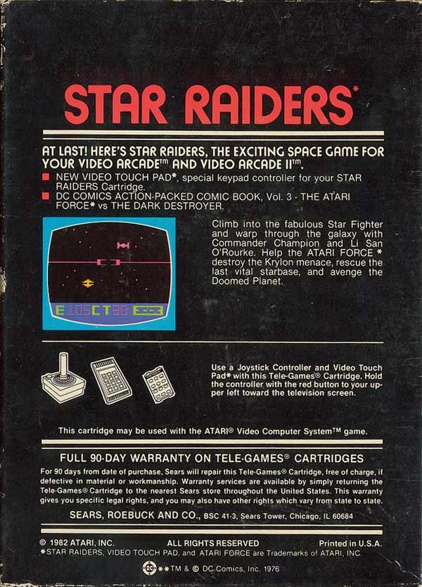 Star Raiders - Box Back