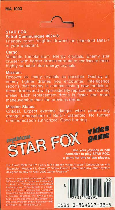 Star Fox - Box Back