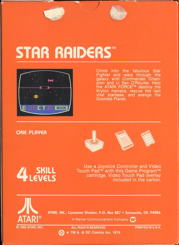 Star Raiders - Box Back