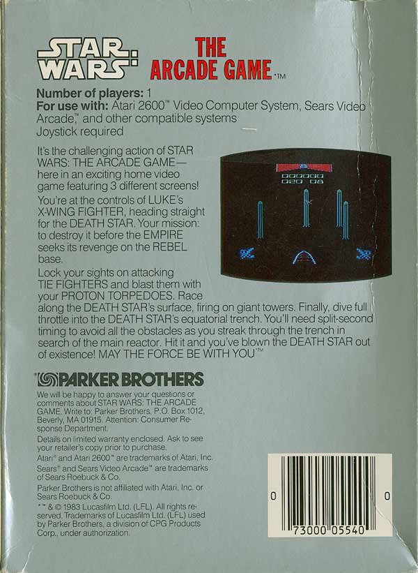 Star Wars: The Arcade Game - Box Back