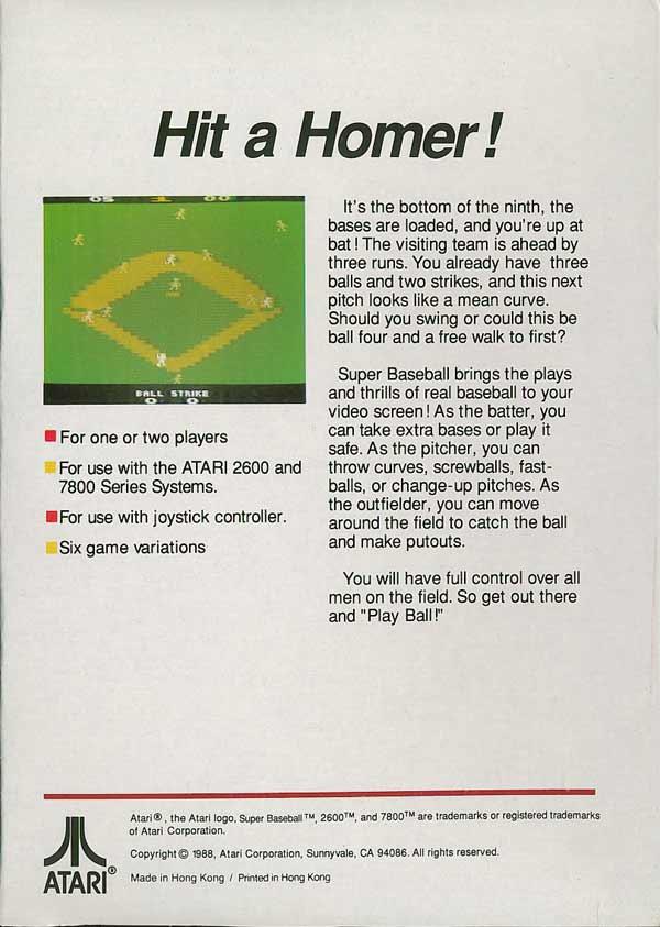 Super Baseball - Box Back