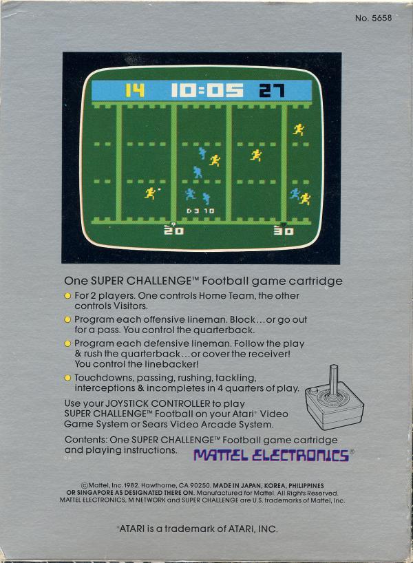 Super Challenge Football - Box Back