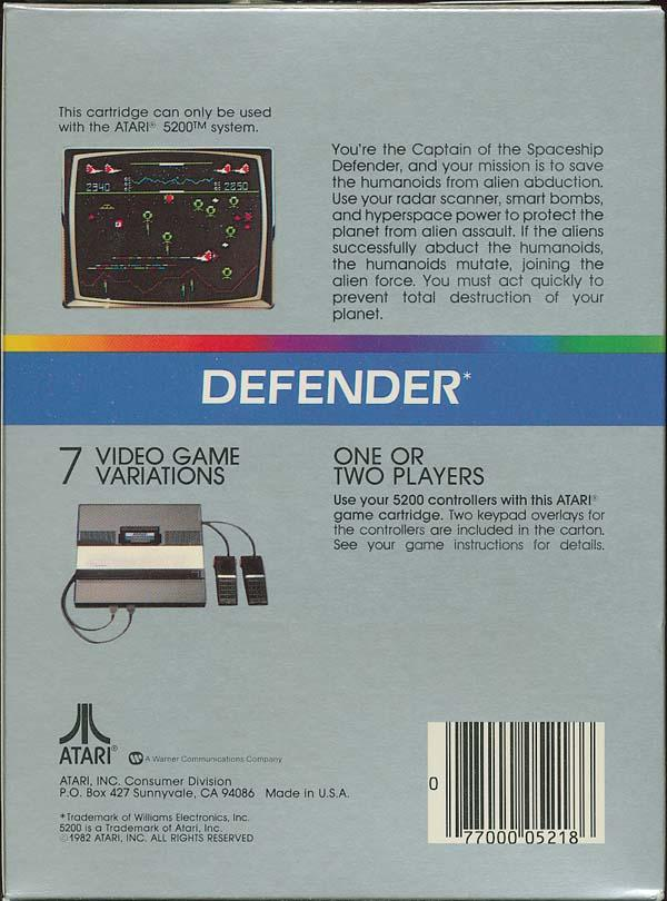 Defender - Box Back