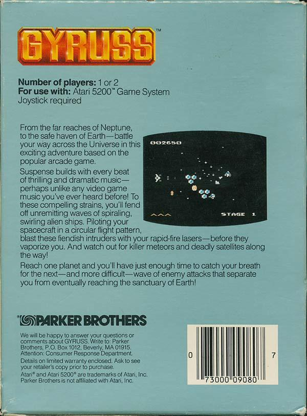 Gyruss - Box Back