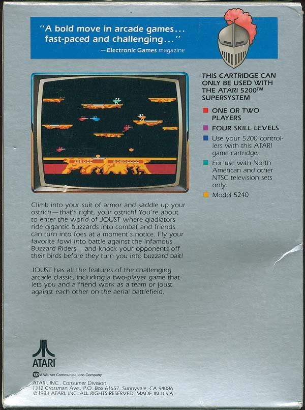 Joust - Box Back