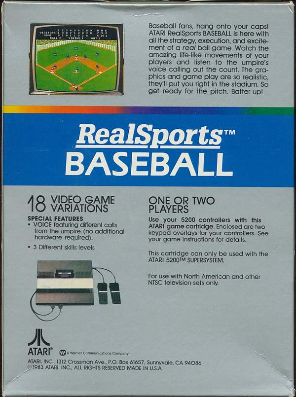 Realsports Baseball - Box Back
