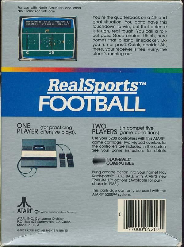 Realsports Football - Box Back