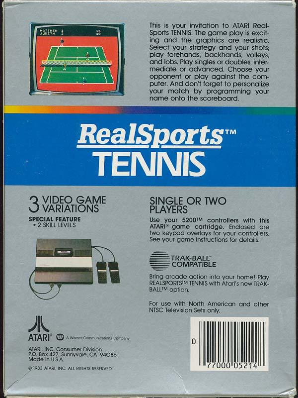 Realsports Tennis - Box Back