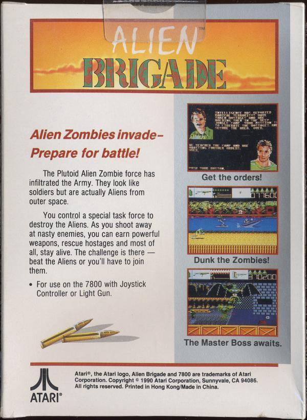 Alien Brigade - Box Back