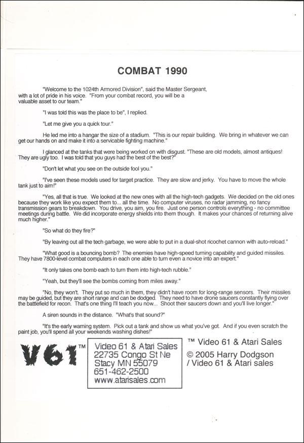 Combat 1990 - Box Back
