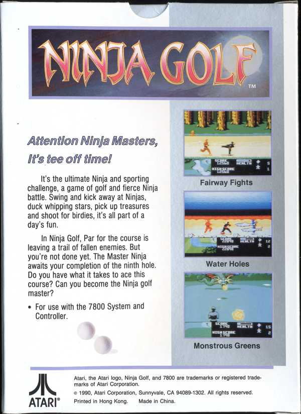 Ninja Golf - Box Back