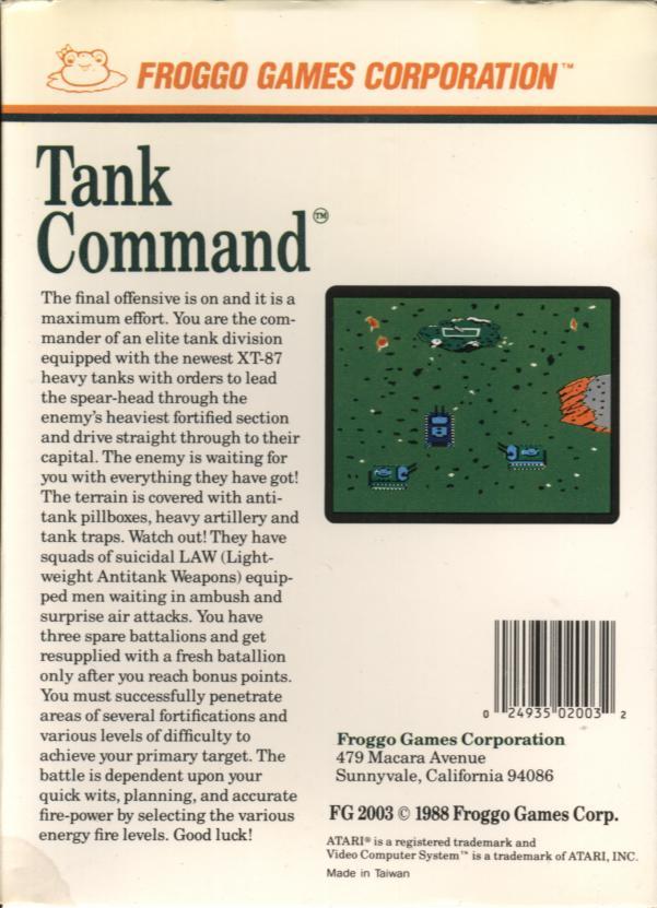 Tank Command - Box Back