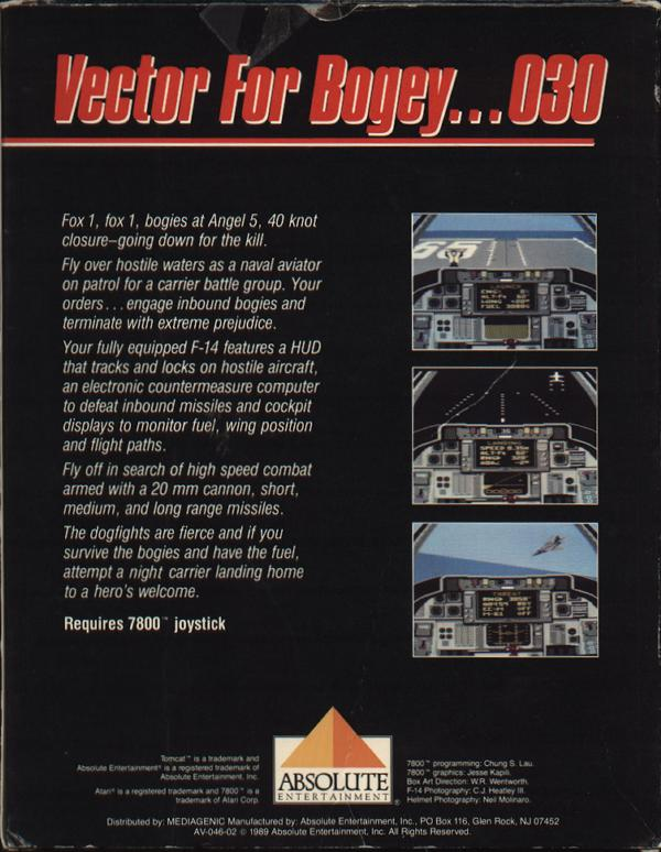 Tomcat: The F-14 Fighter Simulator - Box Back