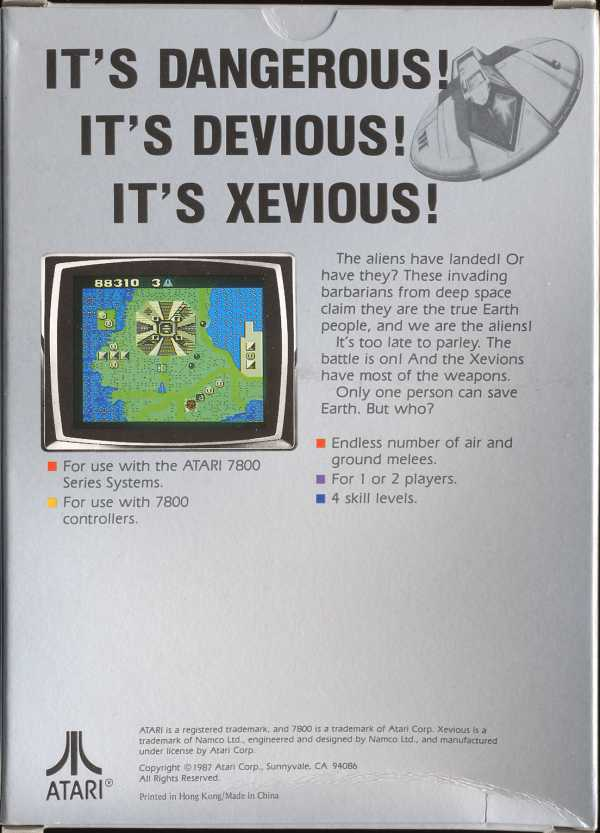 Xevious - Box Back