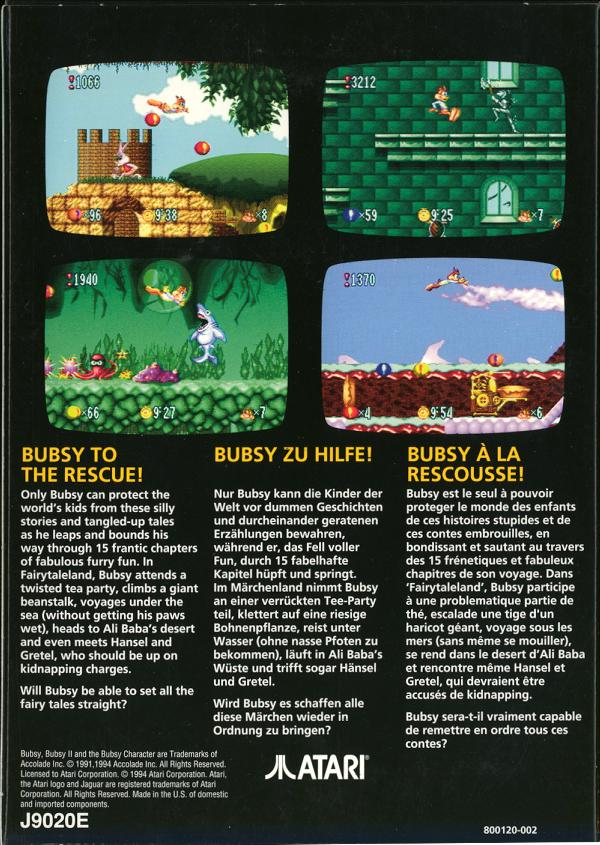 Bubsy: Fractured Furry Tails - Box Back