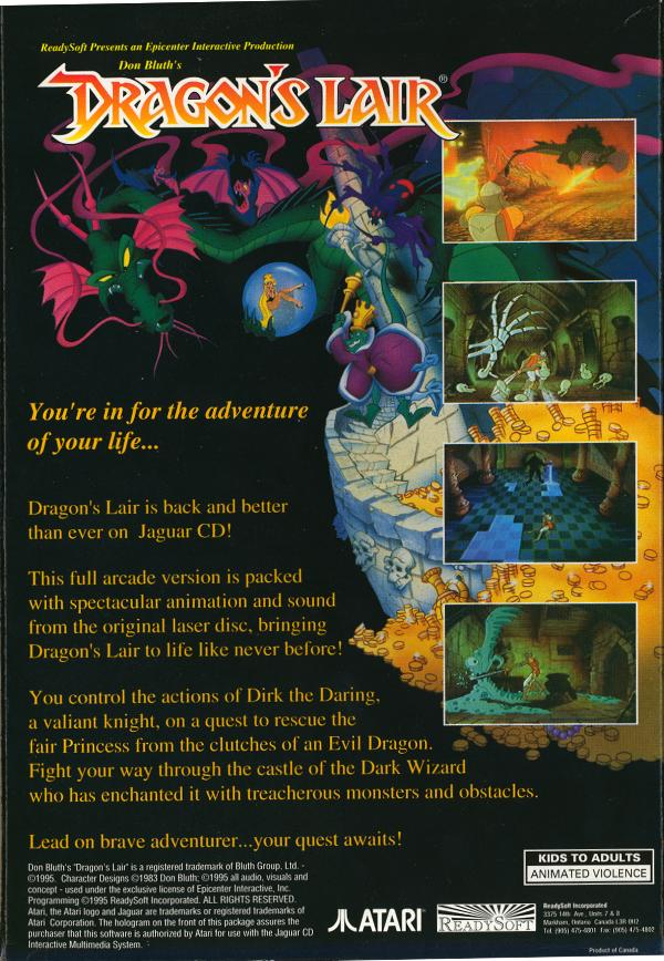 Dragon's Lair - Box Back