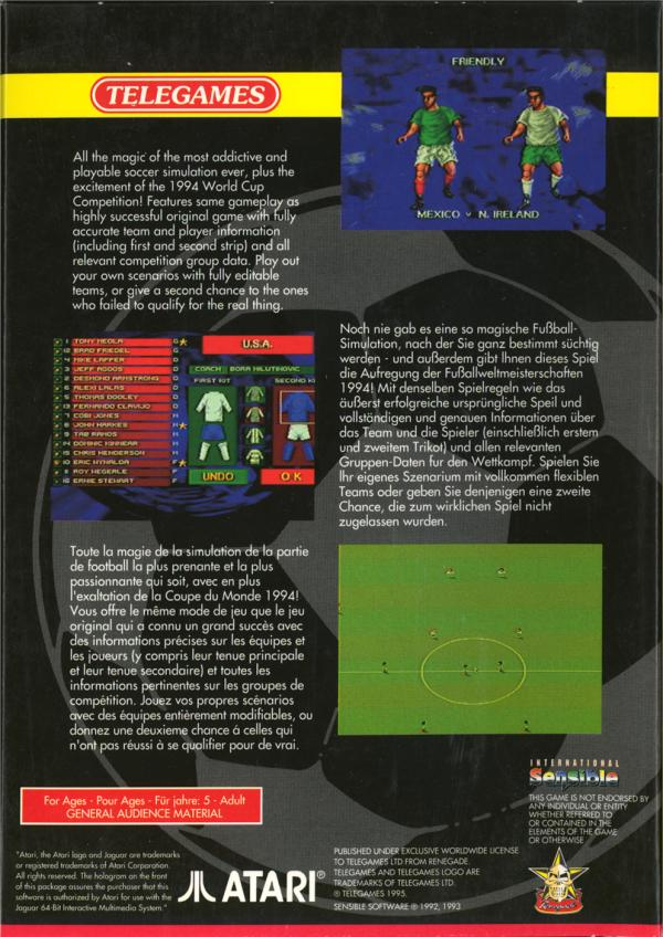 International Sensible Soccer - Box Back