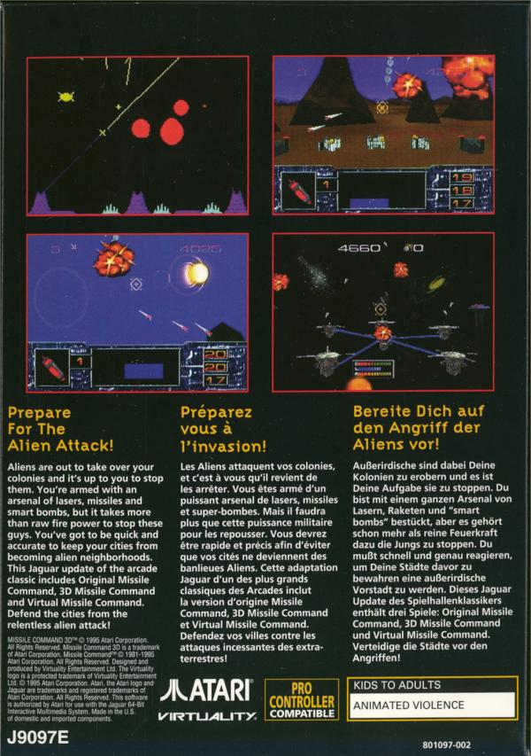 Missile Command 3D - Box Back