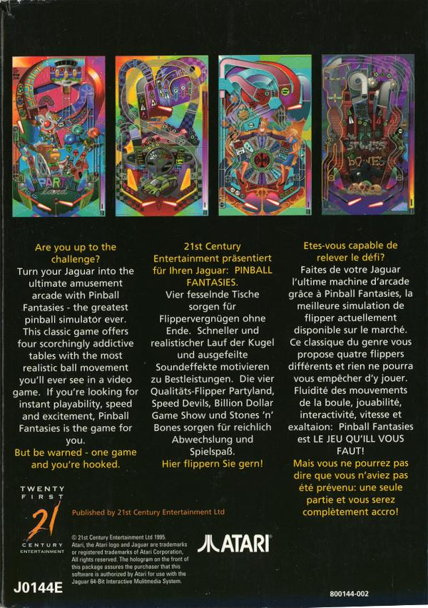 Pinball Fantasies - Box Back