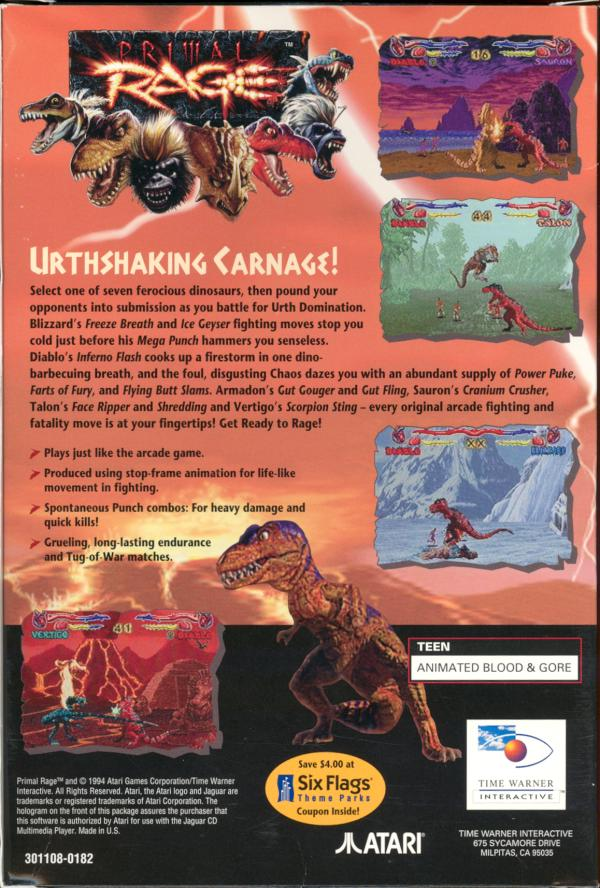 Primal Rage - Box Back