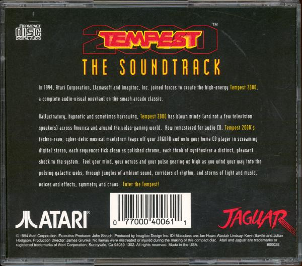 Tempest 2000 Soundtrack - Box Back