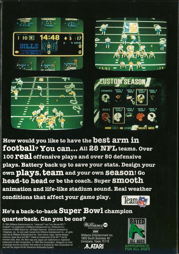 Troy Aikman NFL Football - Box Back