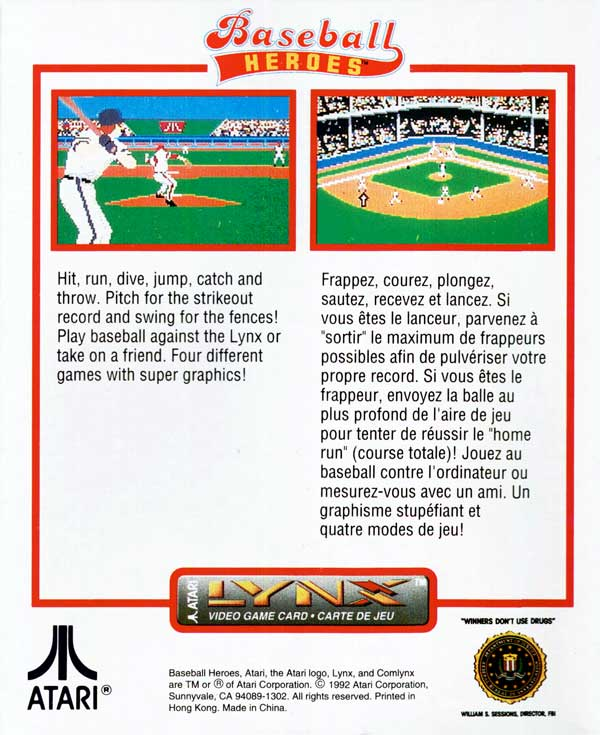 Baseball Heroes - Box Back