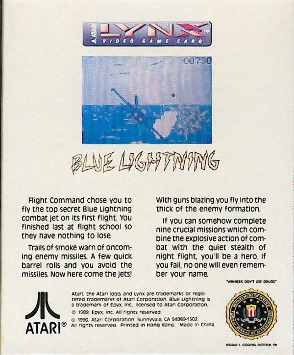 Blue Lightning - Box Back