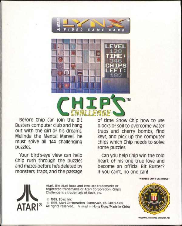 Chip's Challenge - Box Back