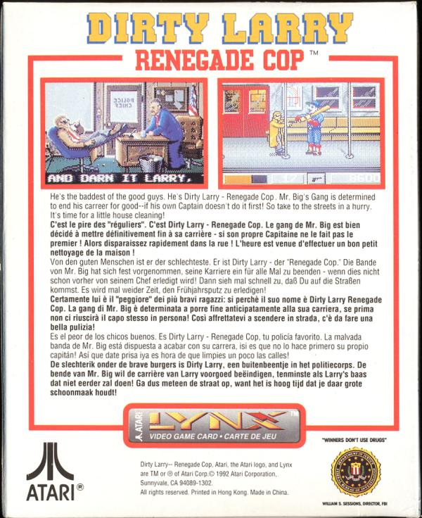 Dirty Larry: Renegade Cop - Box Back